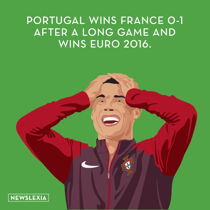 Portugal wins france 0-1 after a long game and wins euro 2016